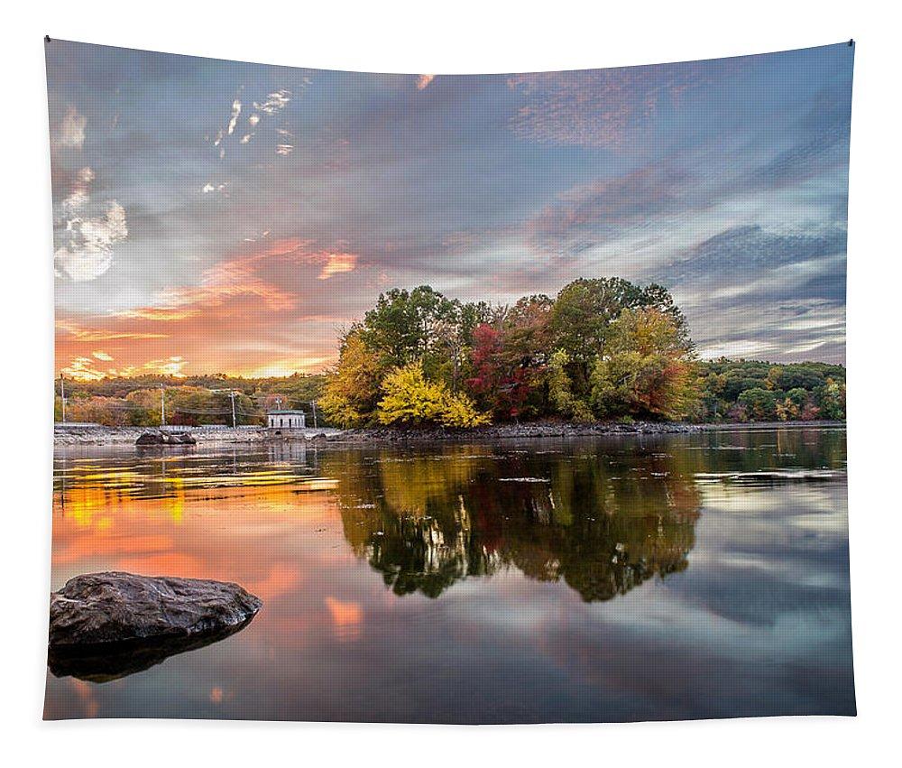 Autumn Tapestry featuring the photograph Sunset At Cambridge Reservoir by Jatinkumar Thakkar