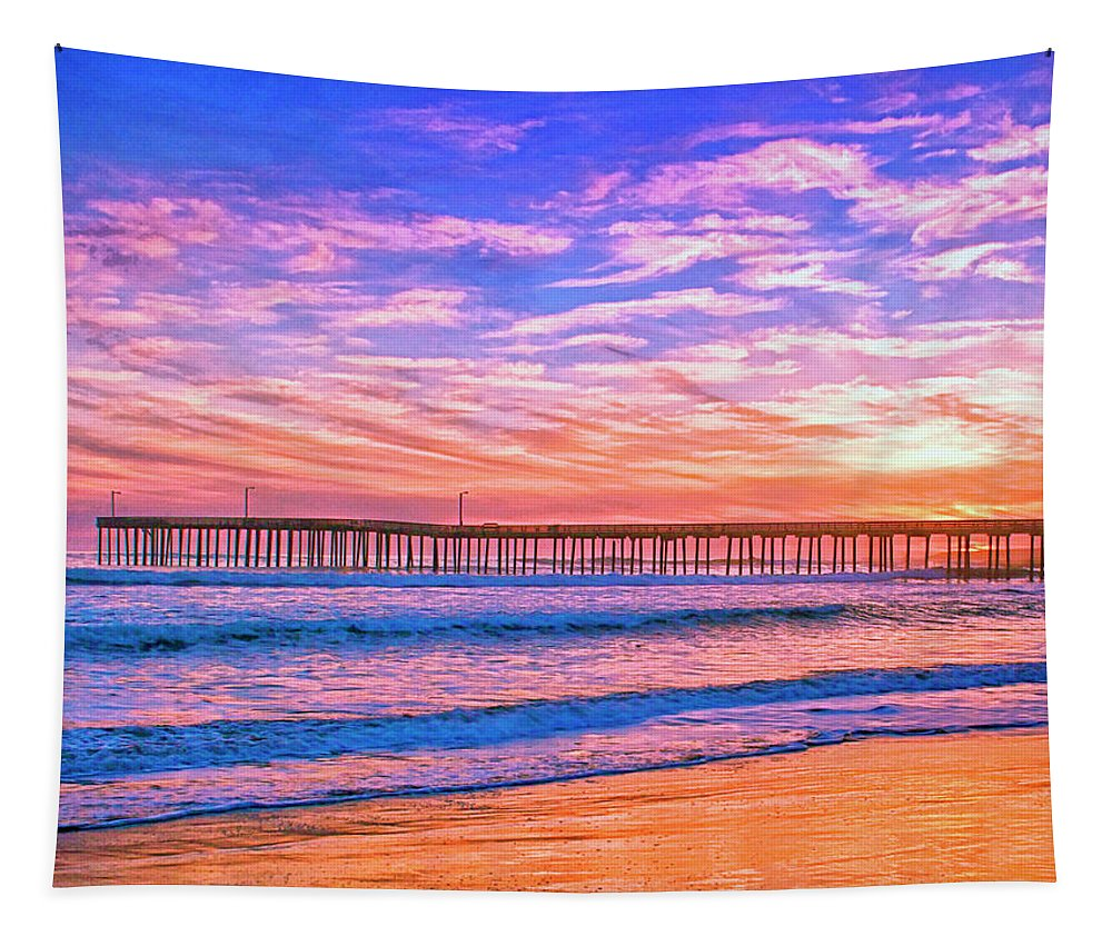 Sunset At Cayucos Pier Tapestry featuring the mixed media Sunset At Cayucos Pier by Dominic Piperata