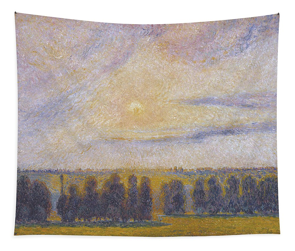 French Landscape Tapestry featuring the painting Sunset At Eragny, 1890 by Camille Pissarro