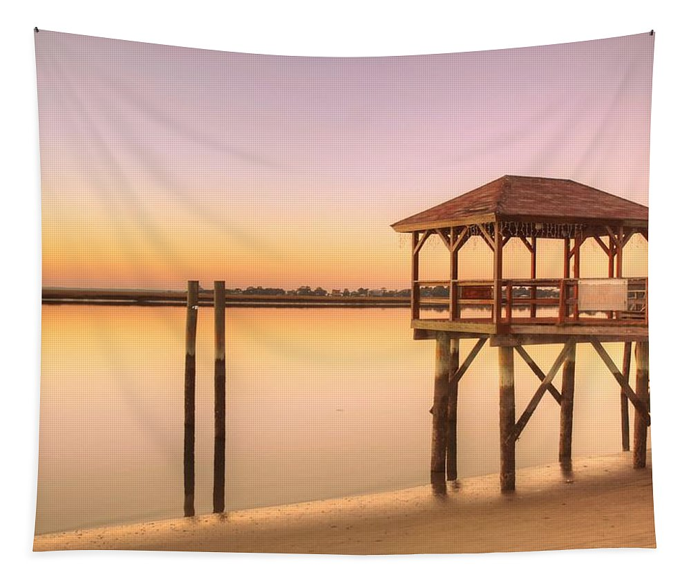 Tybeeisland Tapestry featuring the photograph Sunset At Tybee by Linda Covino