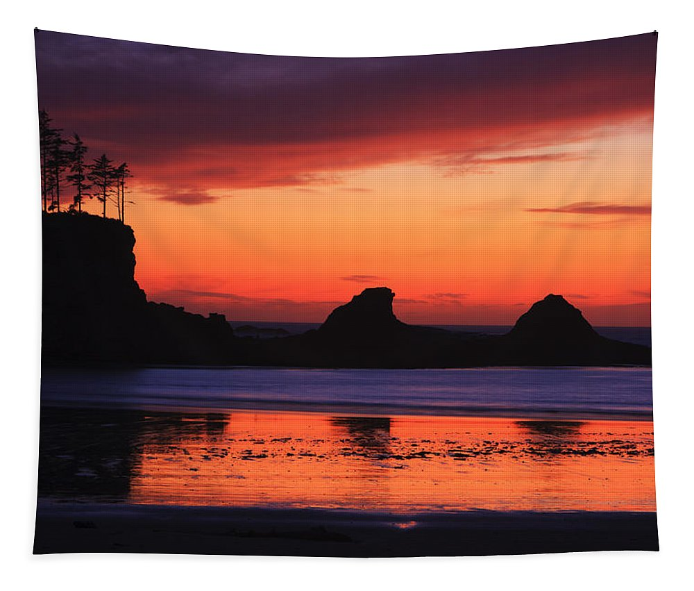 Sunset Tapestry featuring the photograph Sunset Bay Sunset 2 by Mark Kiver