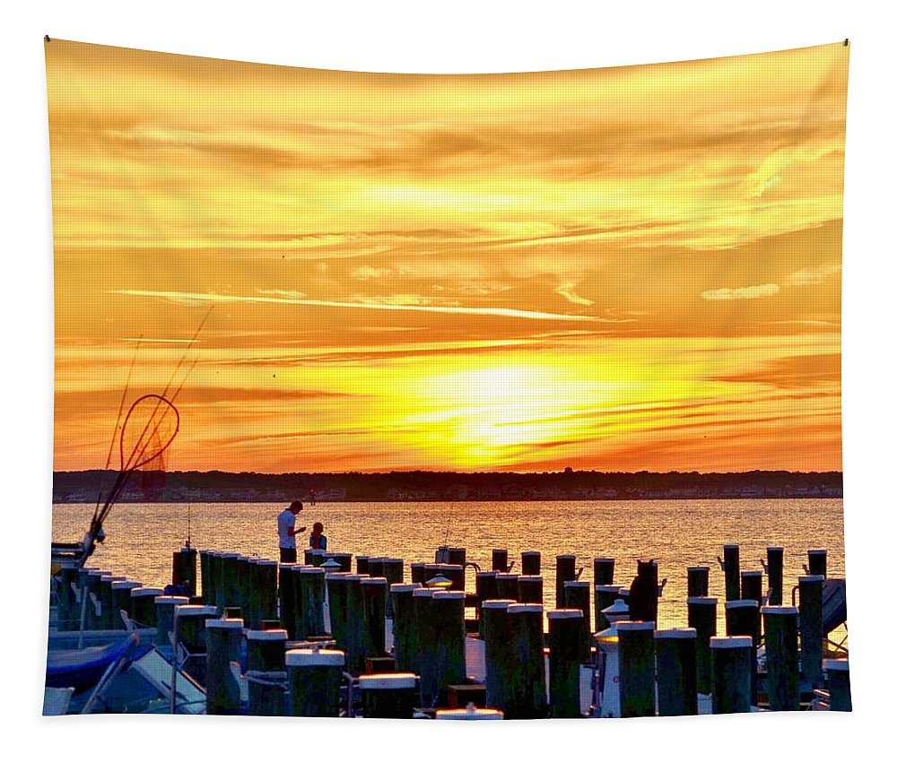 Assawoman Tapestry featuring the photograph Sunset By The Dock by Kim Bemis