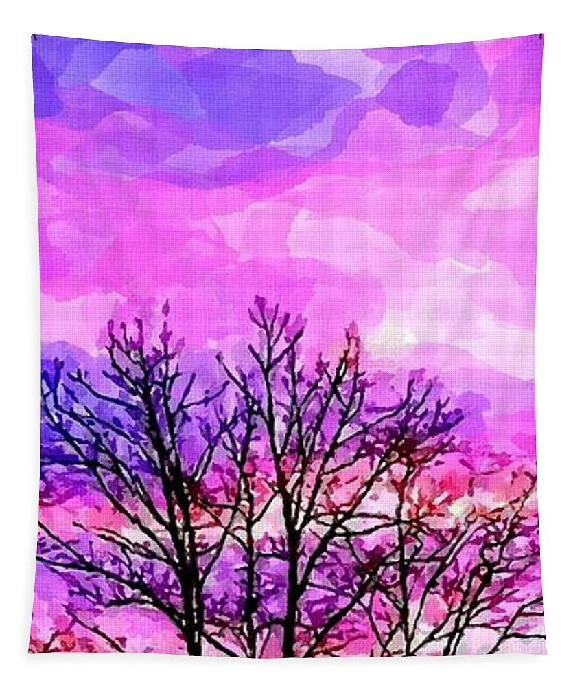 Sunset Tapestry featuring the painting Sunset by Chris Butler