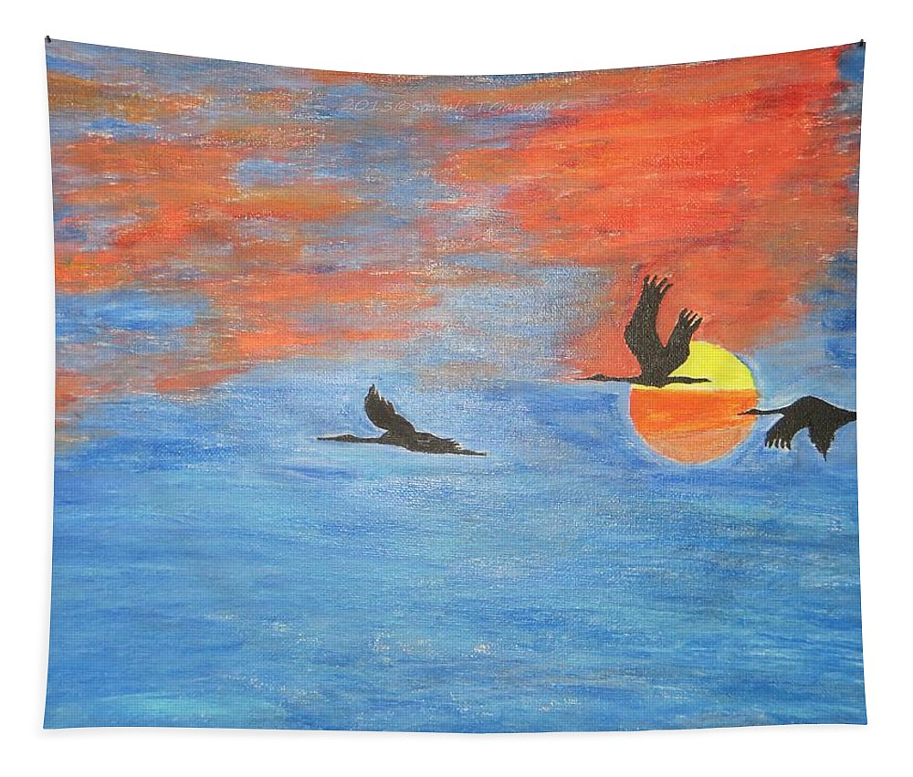 Sunset Cranes Tapestry featuring the painting Sunset Cranes by Sonali Gangane