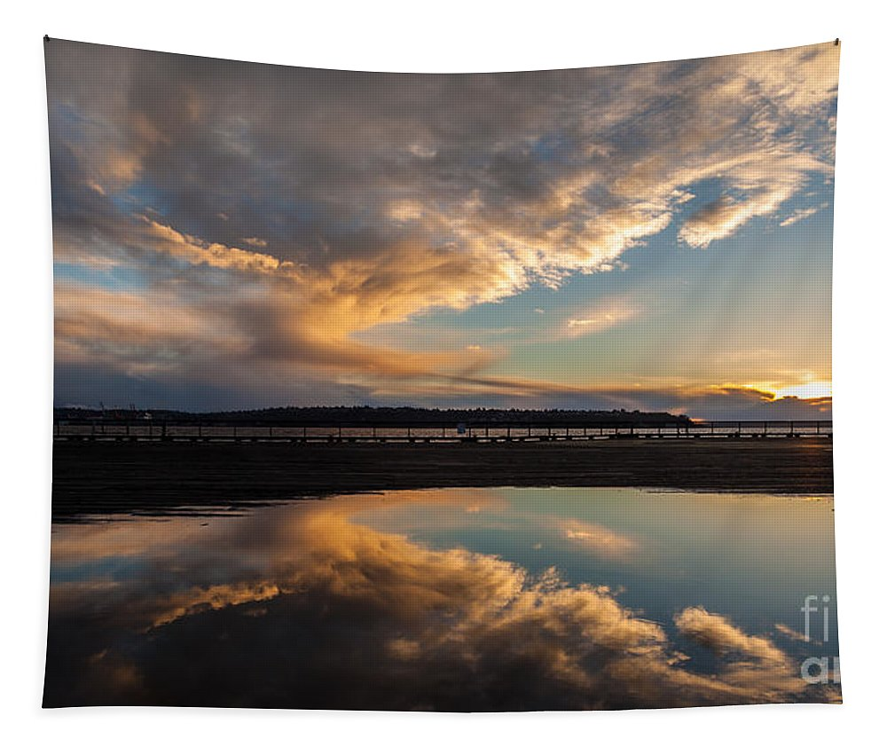 Ferry Tapestry featuring the photograph Sunset Evening Conclusion by Mike Reid