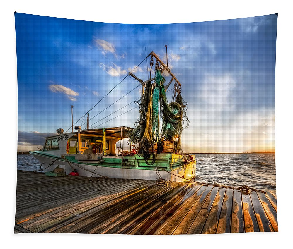 Boats Tapestry featuring the photograph Sunset Fishing by Debra and Dave Vanderlaan