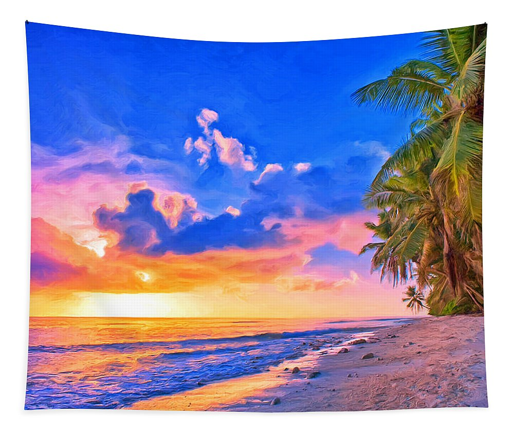 Beach Tapestry featuring the painting Sunset Glow On The Kona Coast by Dominic Piperata