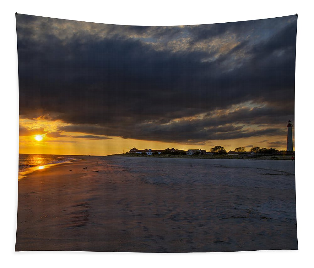 Sunset Tapestry featuring the photograph Sunset In Cape May Along The Beach by Bill Cannon