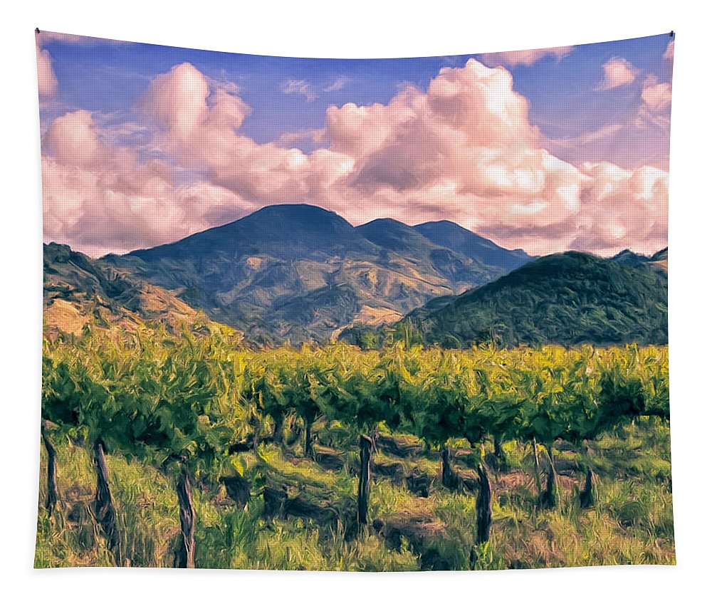 Napa Tapestry featuring the painting Sunset In Napa Valley by Dominic Piperata