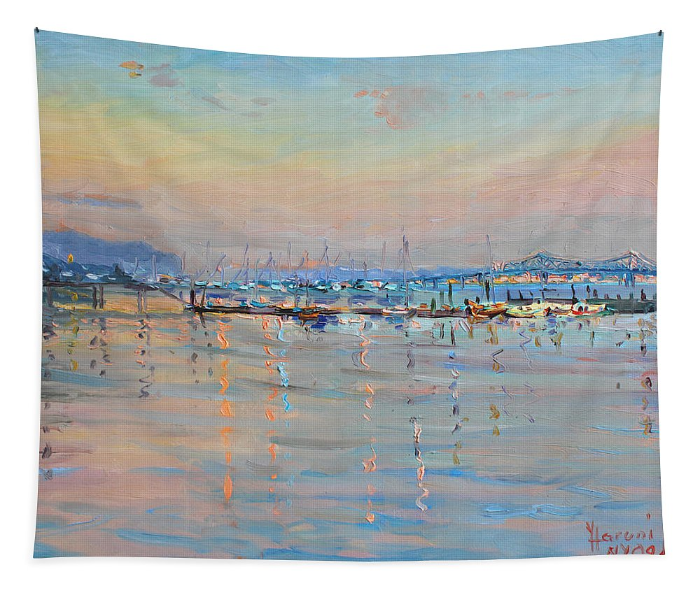 Seascape Tapestry featuring the painting Sunset in Piermont Harbor NY by Ylli Haruni