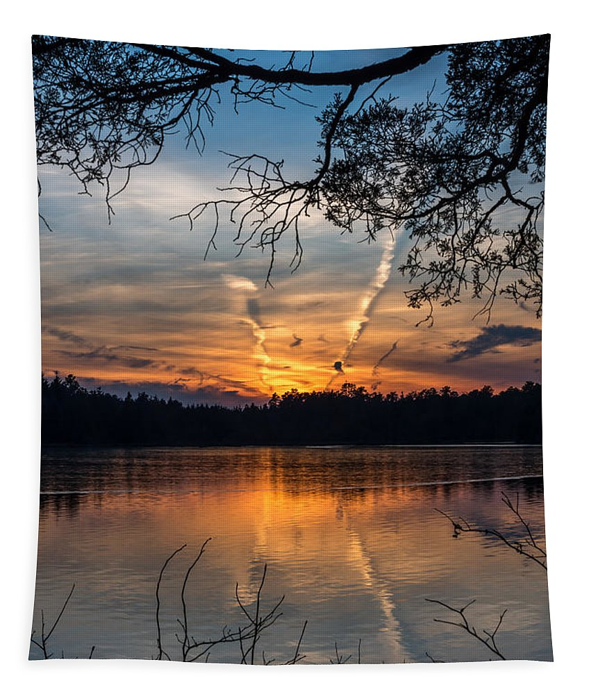 Sunset Lake Horicon Lakehurst New Jersey Tapestry featuring the photograph Sunset Lake Horicon Lakehurst New Jersey by Terry DeLuco