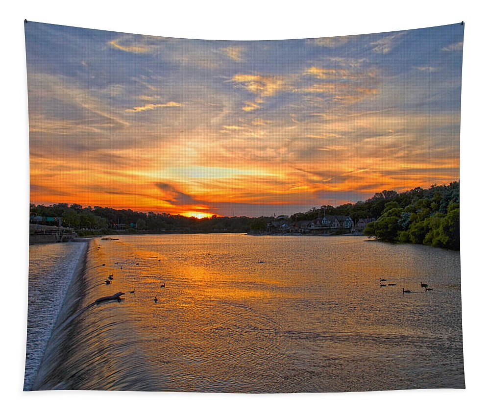 Boathouse Row Tapestry featuring the photograph Sunset On Boathouserow by Alice Gipson