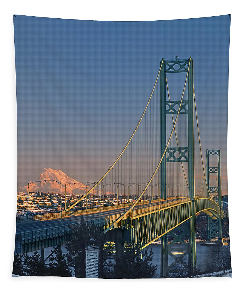 Sunset Tapestry featuring the photograph 1a4y20-v-sunset On Rainier With The Tacoma Narrows Bridge by Ed Cooper Photography