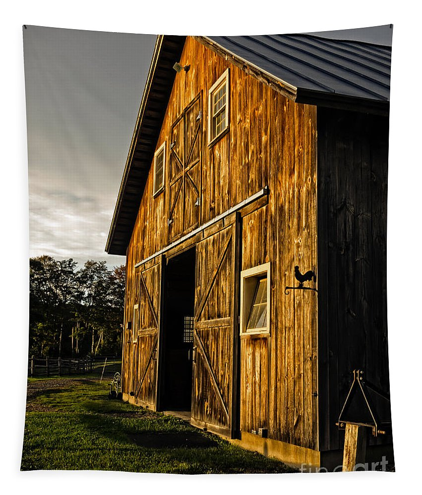Horse Tapestry featuring the photograph Sunset On The Horse Barn by Edward Fielding