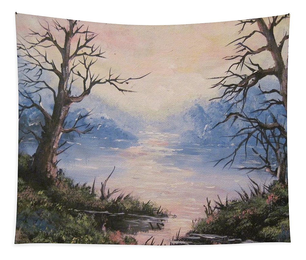 Landscape Tapestry featuring the painting Sunset On Water by Megan Walsh