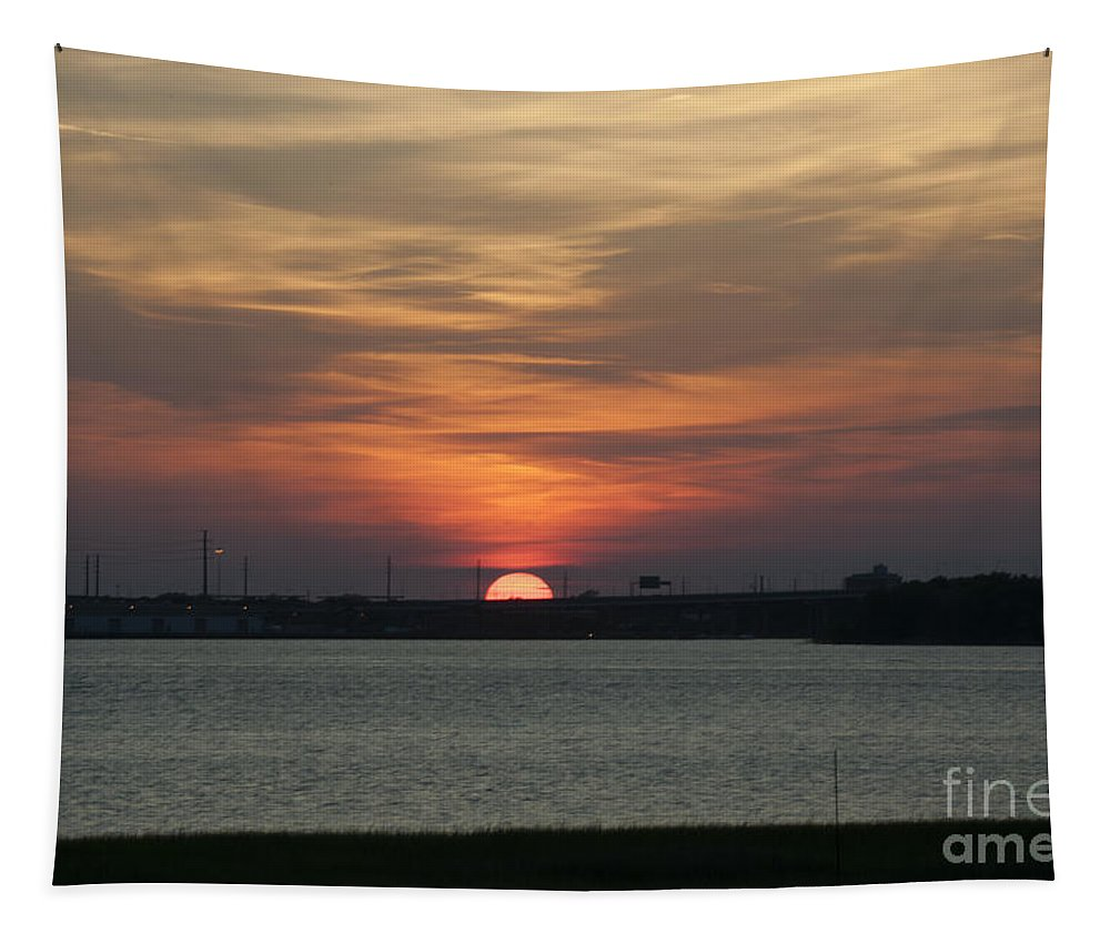 Sunset Tapestry featuring the photograph Sunset Over Charleston Harbor by Dale Powell