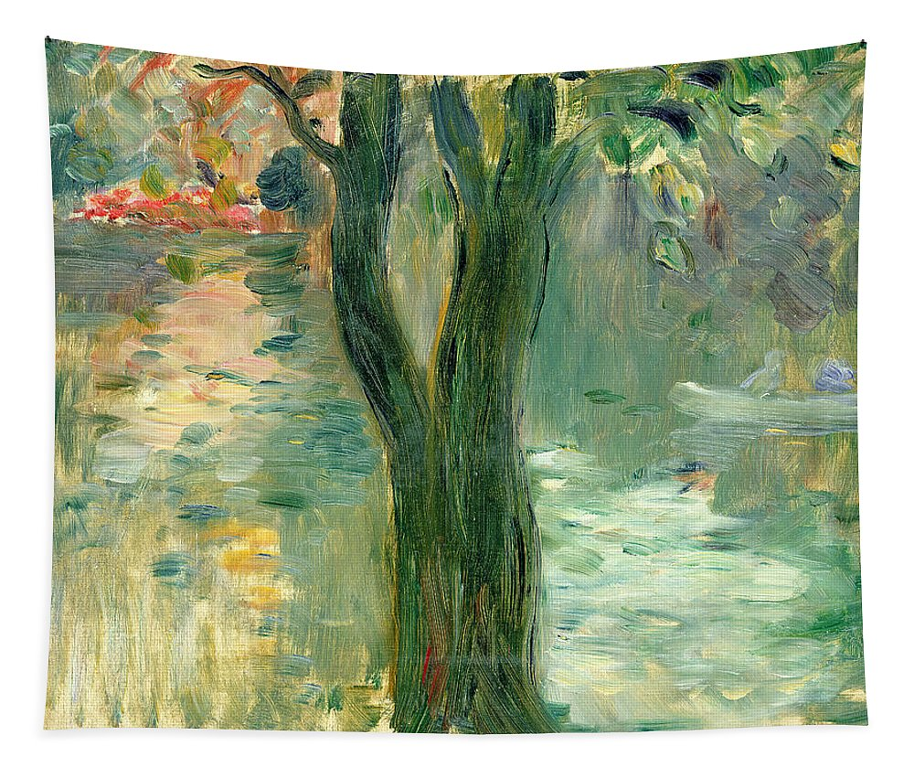 Setting Sun; Impressionist; Reflection Tapestry featuring the painting Sunset Over The Lake Bois De Boulogne by Berthe Morisot