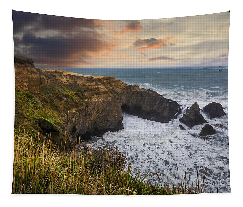 Clouds Tapestry featuring the photograph Sunset Over The Oregon Coast by Debra and Dave Vanderlaan