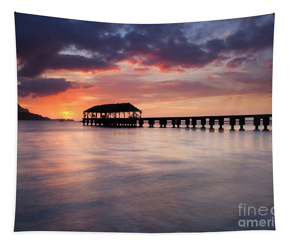 Pier Tapestry featuring the photograph Sunset Pier by Mike Dawson