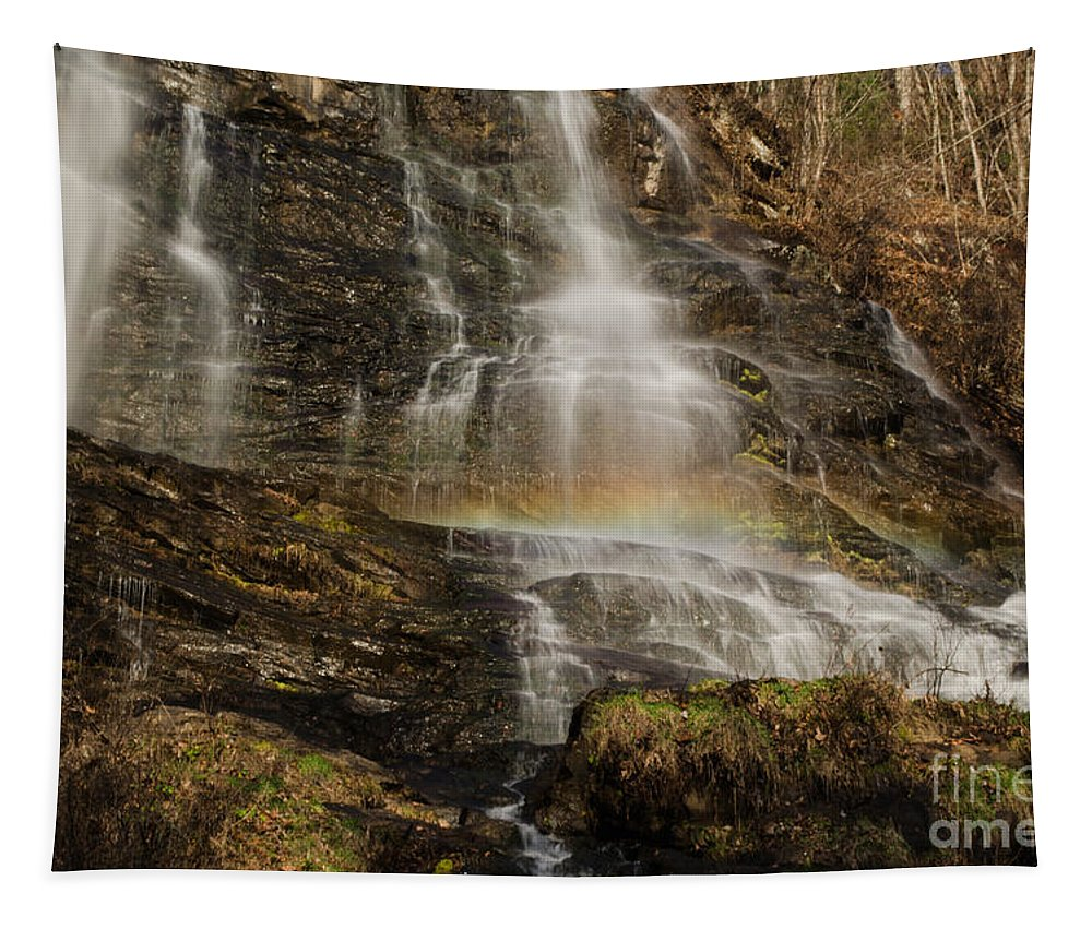 Rainbow Tapestry featuring the photograph Sunset Rainbow At Amicalola Falls by Donna Brown