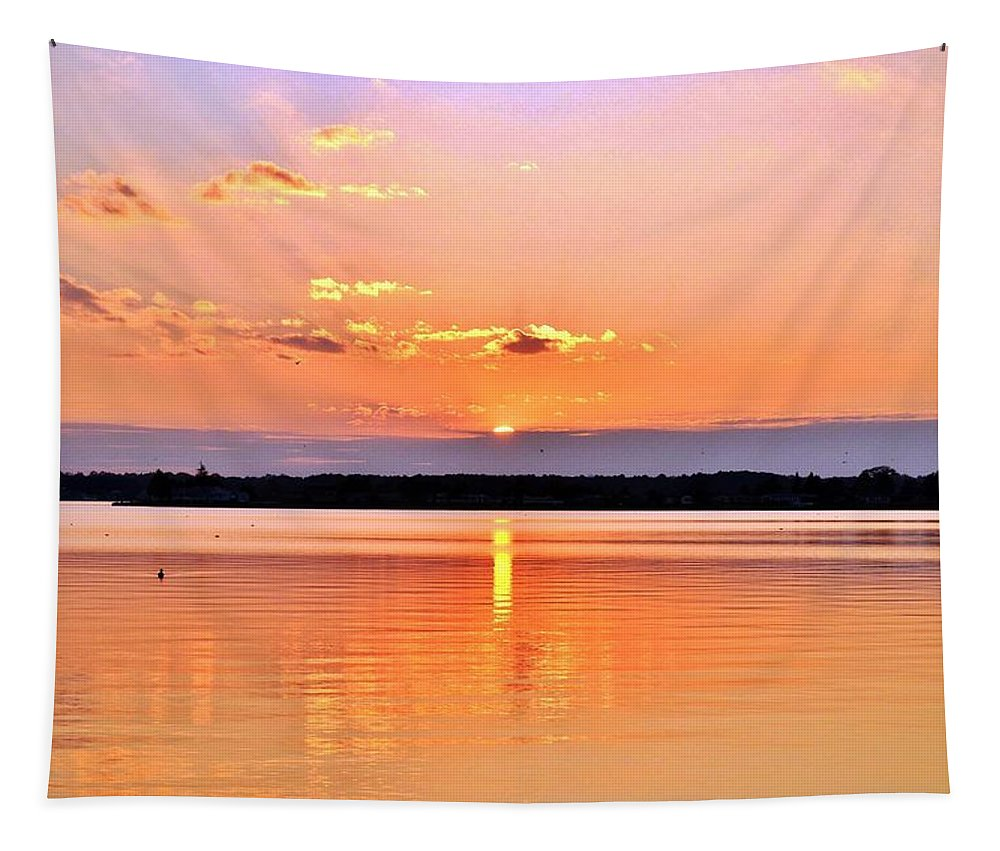 Bay Tapestry featuring the photograph Sunset Reflections by Kim Bemis