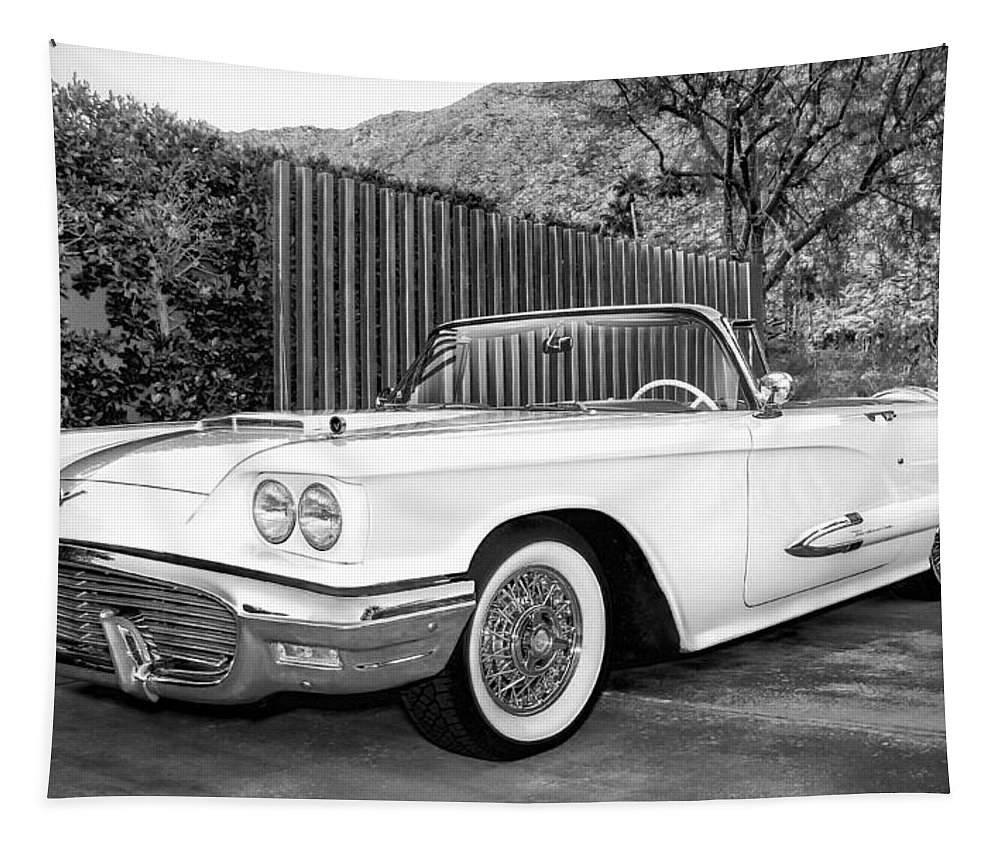 Classic Cars Tapestry featuring the photograph Sunset Thunderbird Bw Palm Springs by William Dey