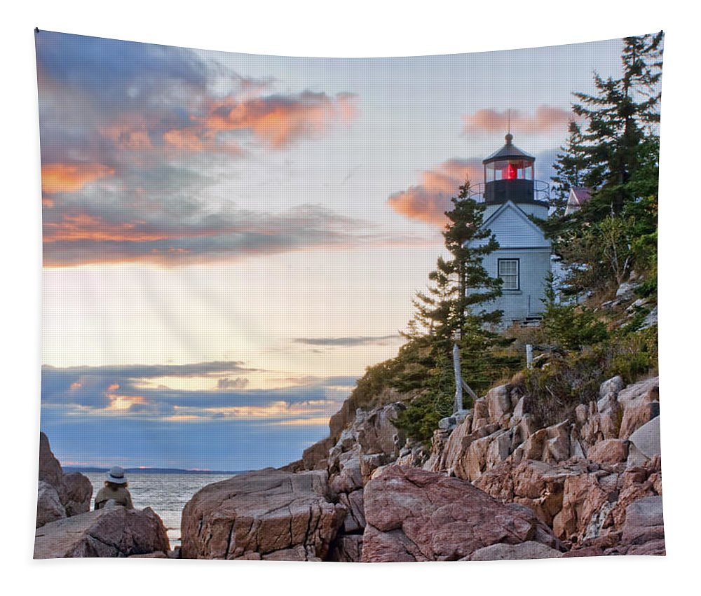 Sunset Watcher Tapestry featuring the photograph Sunset Watcher - Bass Harbor Head - Maine by NSunset Watcher - Bass Harbor HeadSunset Watcher - Bass Harbor Head - Maine - Maineikolyn McDonald
