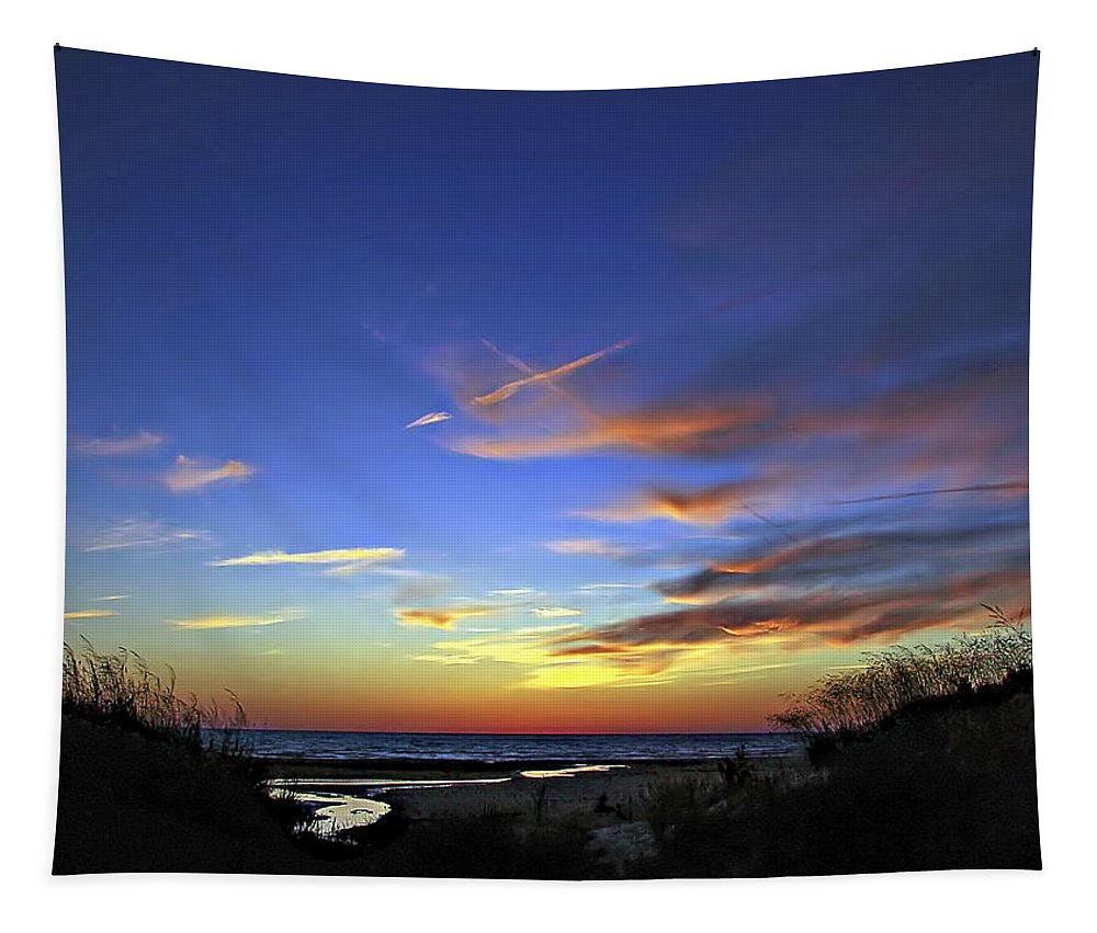 Sauble Beach Tapestry featuring the photograph Sunset X by Steve Harrington