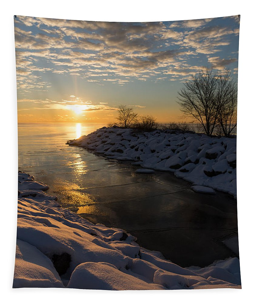 Sunrise Tapestry featuring the photograph Sunshine On The Ice - Lake Ontario Toronto Canada by Georgia Mizuleva