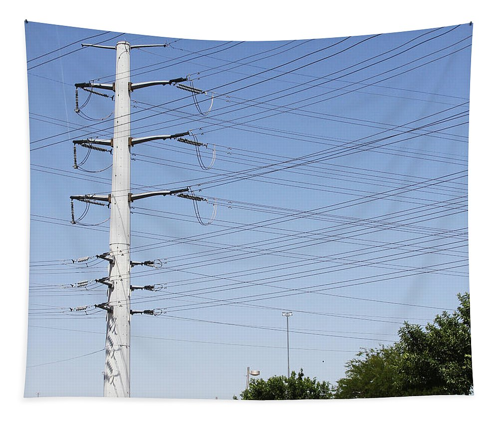 Super Power Pole And Wires Tapestry featuring the photograph Super Power Pole And Wires by Tom Janca