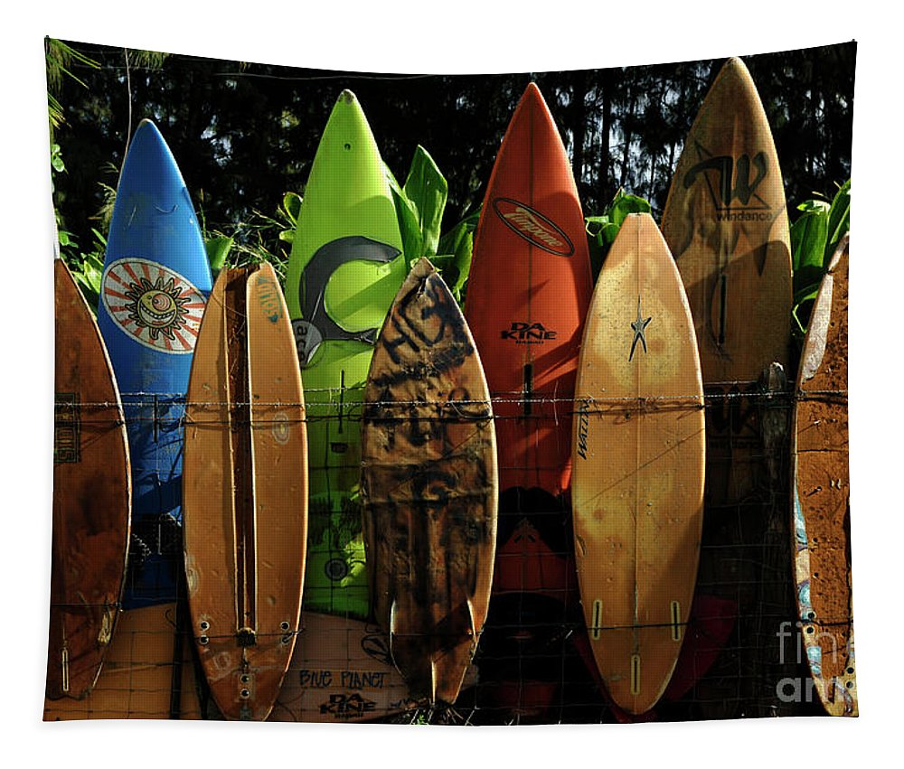 Hawaii Tapestry featuring the photograph Surfboard Fence 4 by Bob Christopher