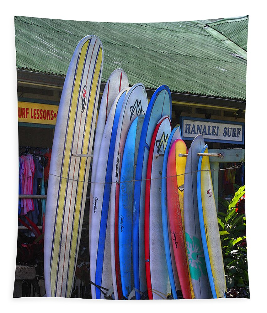 Hanalei Tapestry featuring the photograph Surfboards At Hanalei Surf by Catherine Sherman