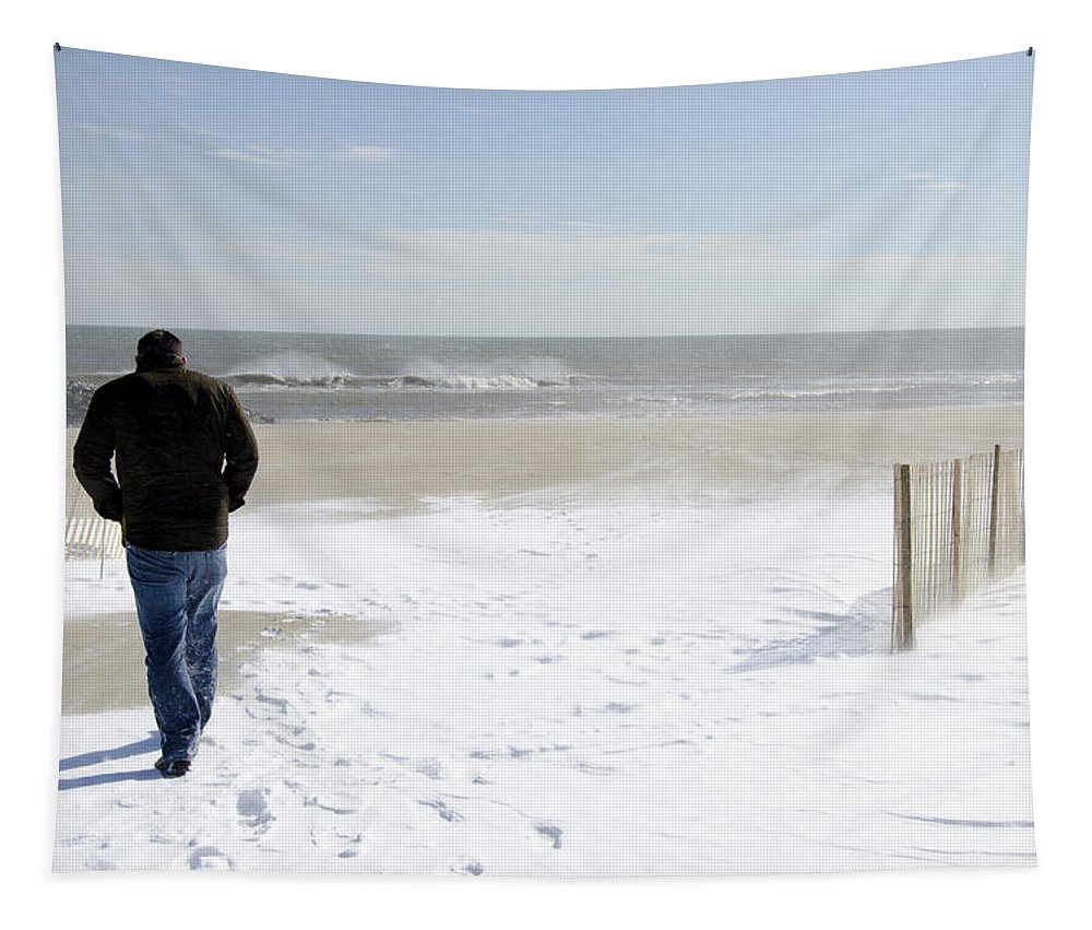 Winter Tapestry featuring the photograph Surfer Checking Out Winter Swell In Belmar Nj by Maureen E Ritter