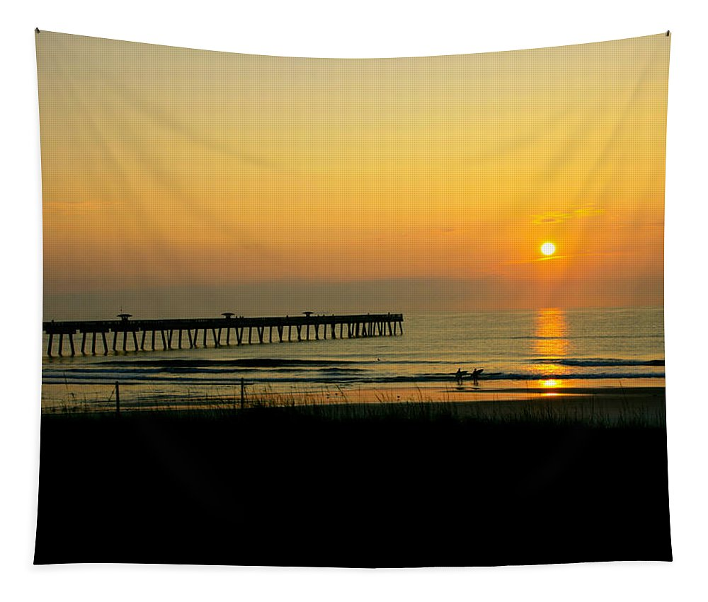 Ocean Tapestry featuring the photograph Surfers Sunrise by Susan McMenamin