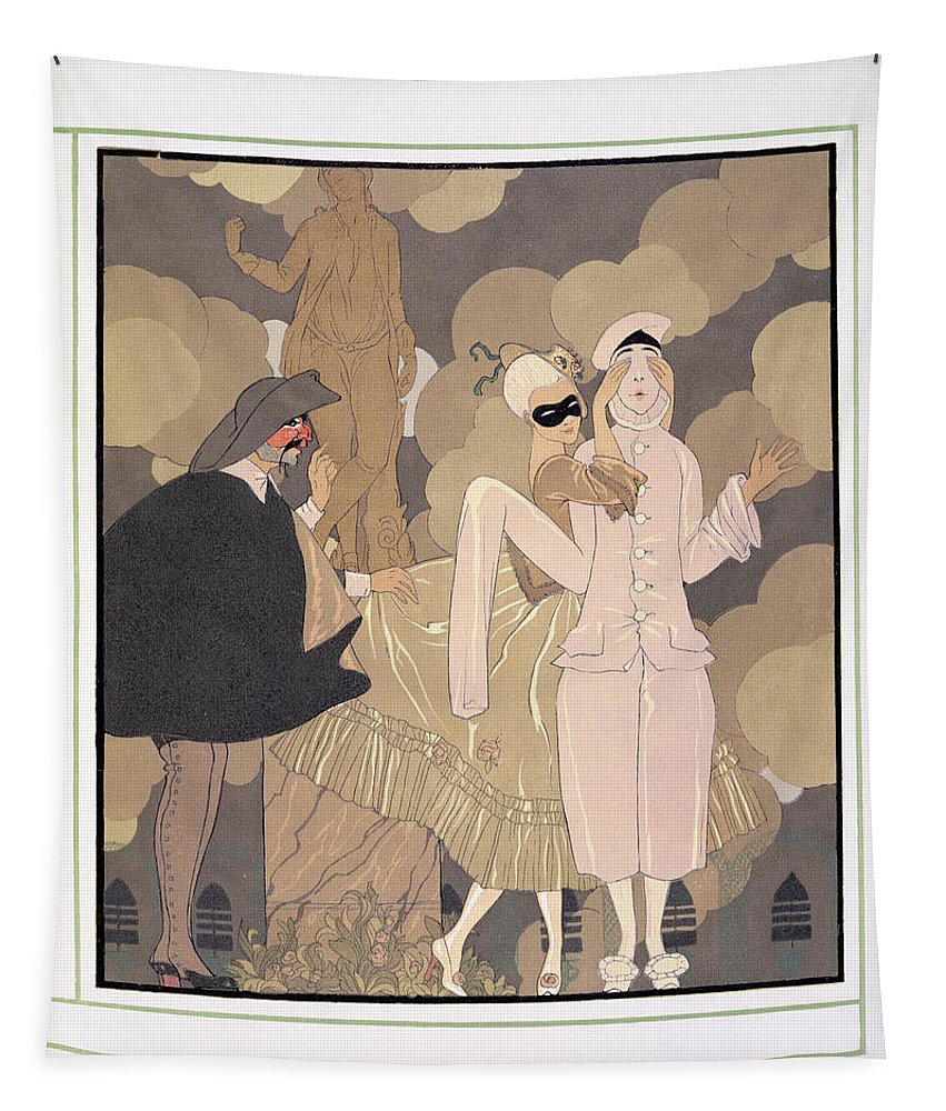 Pierrot Tapestry featuring the painting Surprise by Georges Barbier