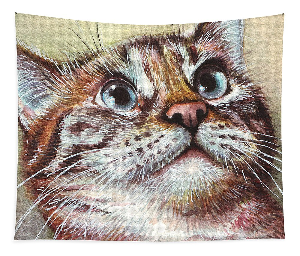 Kitty Tapestry featuring the painting Surprised Kitty by Olga Shvartsur