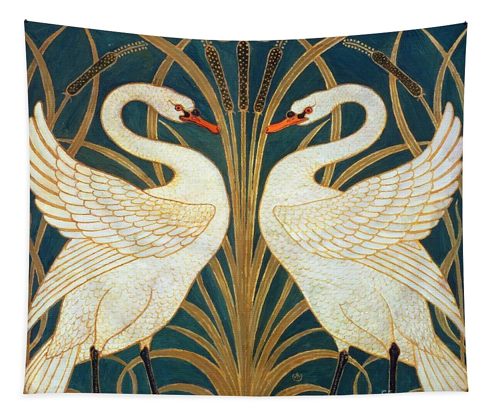 Walter Crane Tapestry featuring the painting Swan Rush And Iris by Walter Crane