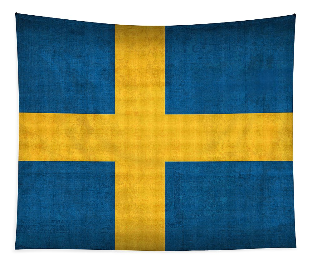 Sweden Flag Vintage Distressed Finish Tapestry featuring the mixed media Sweden Flag Vintage Distressed Finish by Design Turnpike