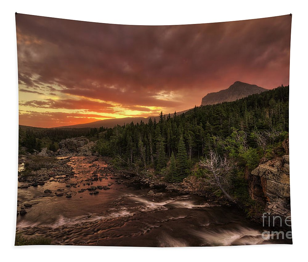 Swiftcurrent Falls Tapestry featuring the photograph Swiftcurrent River Sunrise by Mark Kiver
