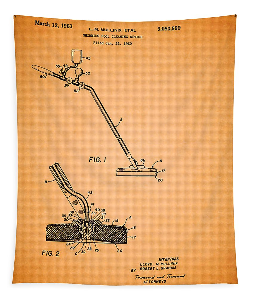 Patent Tapestry featuring the drawing Swimming Pool Cleaning Device Patent by Mountain Dreams