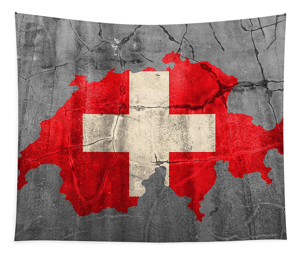 Swiss Tapestry featuring the mixed media Switzerland Flag Country Outline Painted On Old Cracked Cement by Design Turnpike