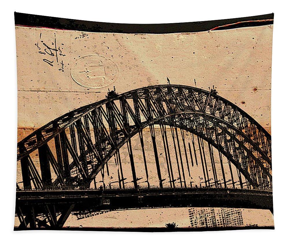 Sydney Tapestry featuring the mixed media Sydney Harbor Bridge by Ben Yassa