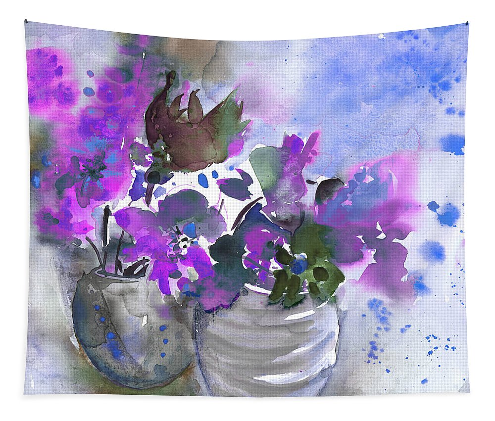 Flowers Tapestry featuring the painting Symphony In Blue And Purple by Miki De Goodaboom