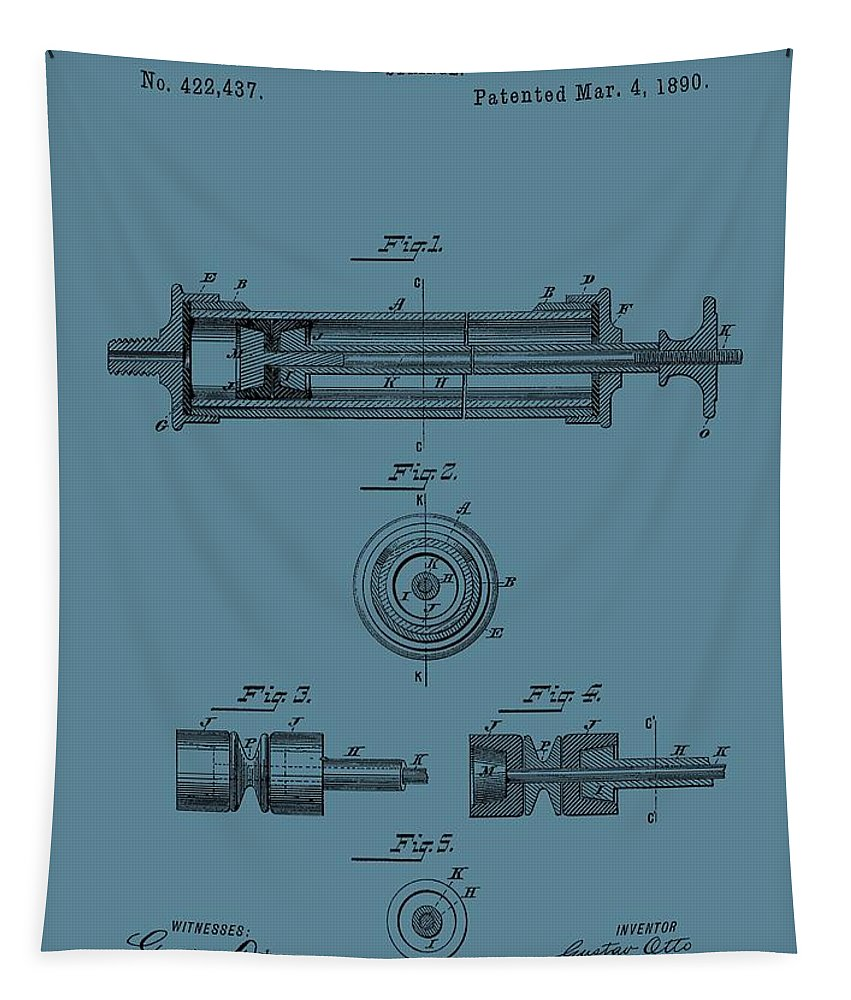 Vintage Syringe Patent Tapestry featuring the drawing Syringe Patent Drawing Blue by Dan Sproul