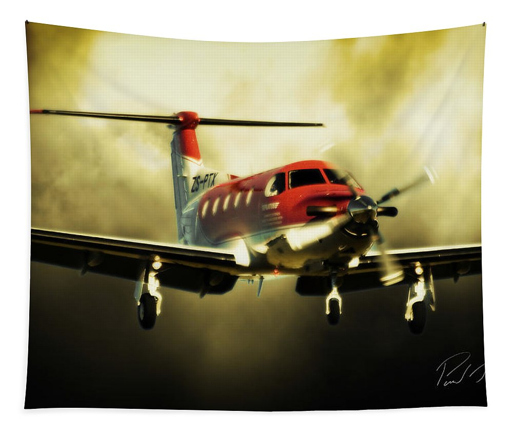 Pilatus Pc 12 Golden Eagle Tapestry featuring the photograph T Tale by Paul Job
