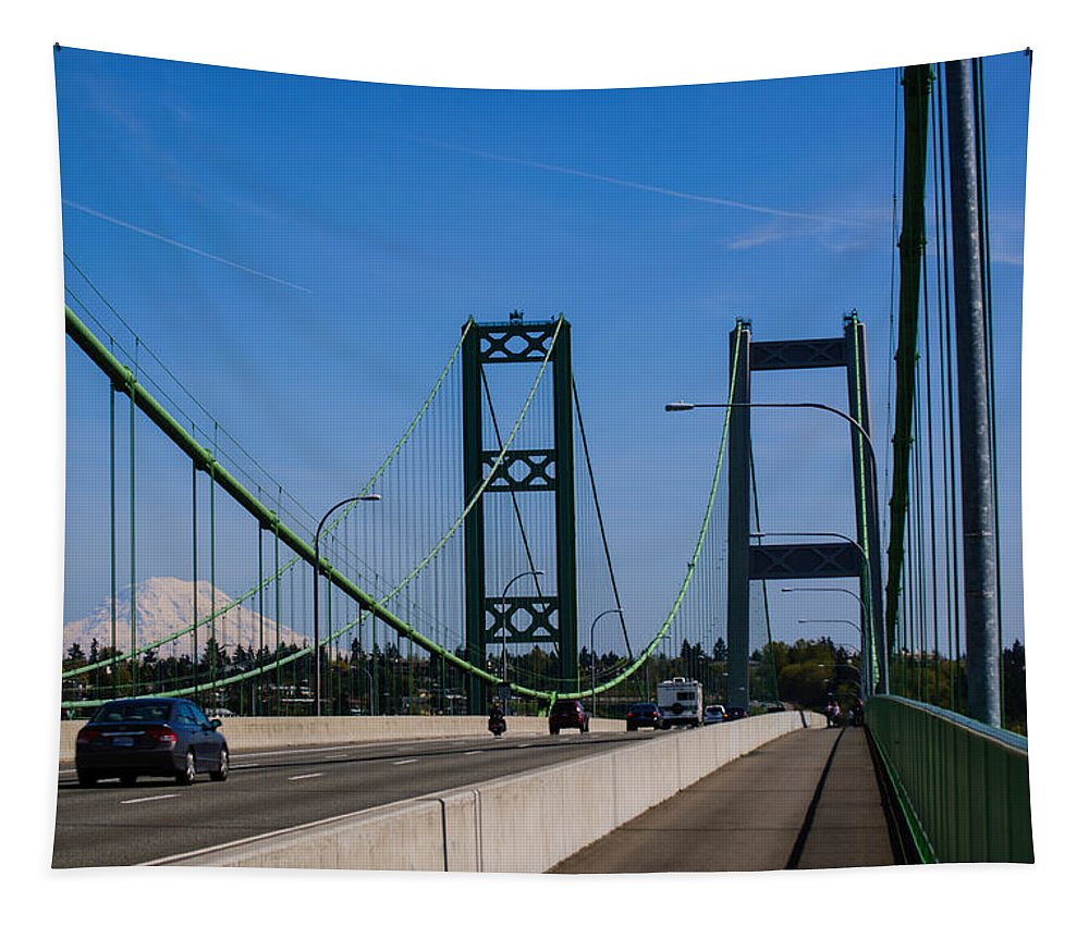 Tacoma Narrows View Of Rainier Tapestry featuring the photograph Tacoma Narrows View Of Rainier by Tikvah's Hope