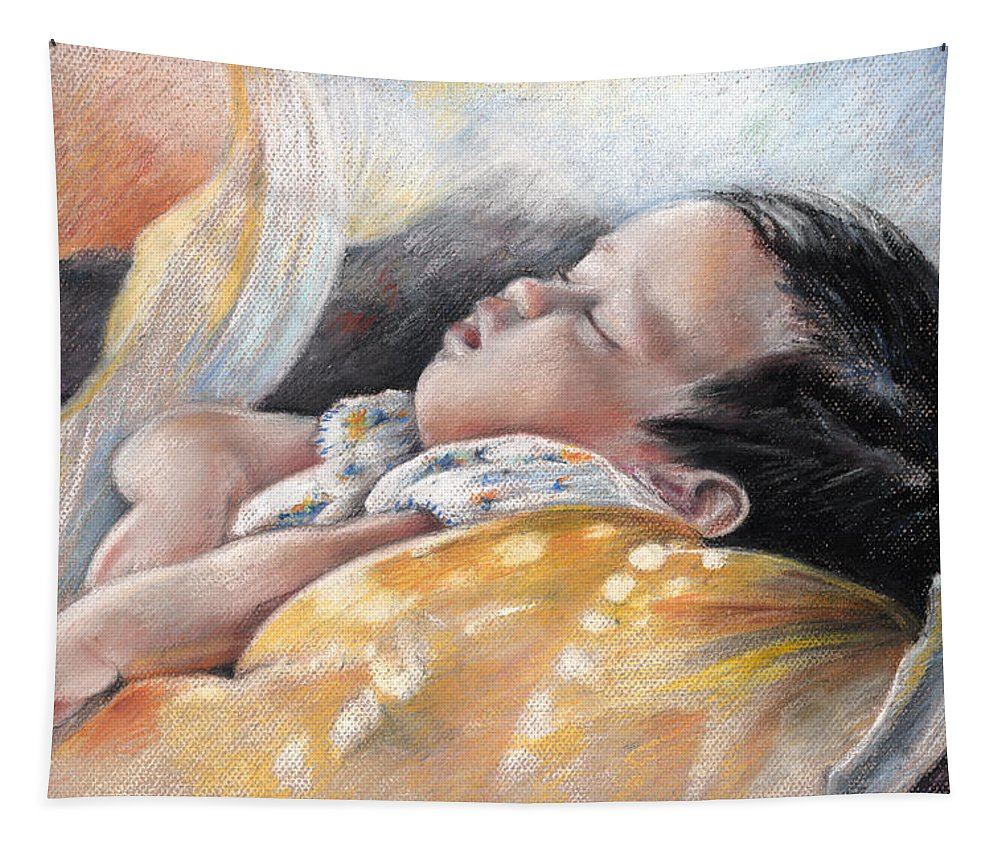 Travel Tapestry featuring the painting Tahitian Baby by Miki De Goodaboom