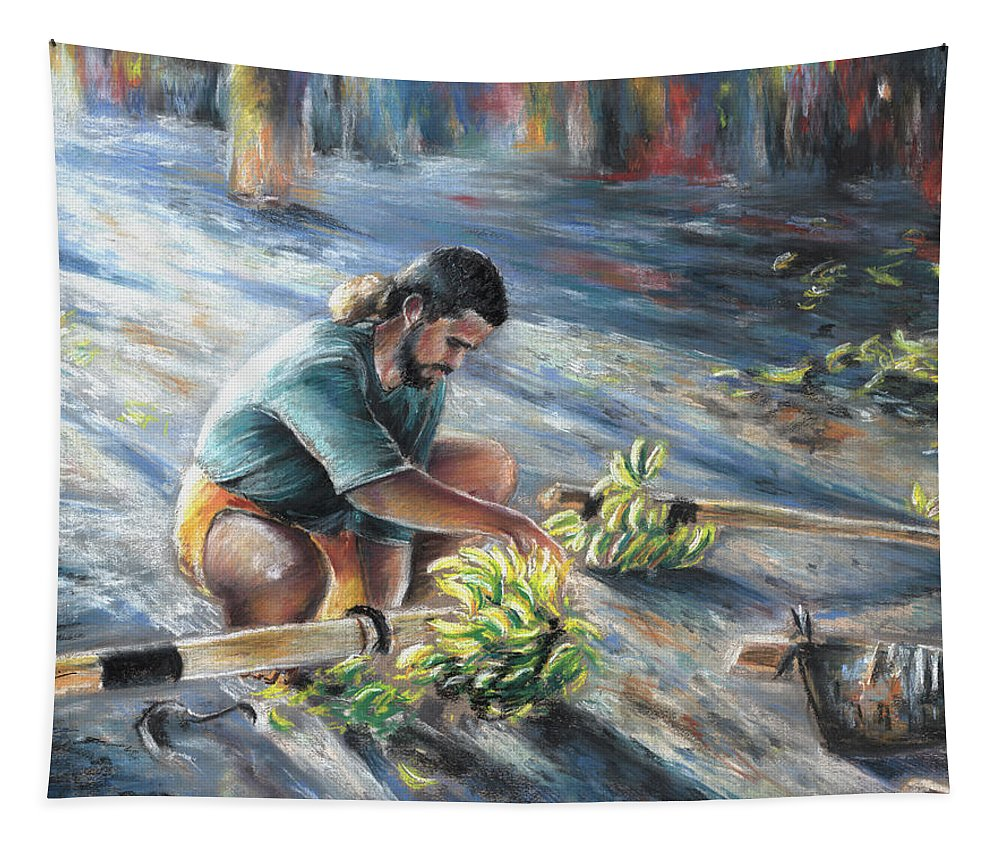 Travel Tapestry featuring the painting Tahitian Banana Carryer by Miki De Goodaboom