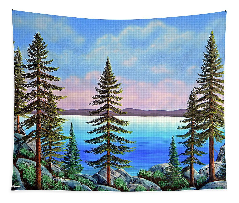 Tahoe Pines Tapestry featuring the painting Tahoe Pines by Frank Wilson