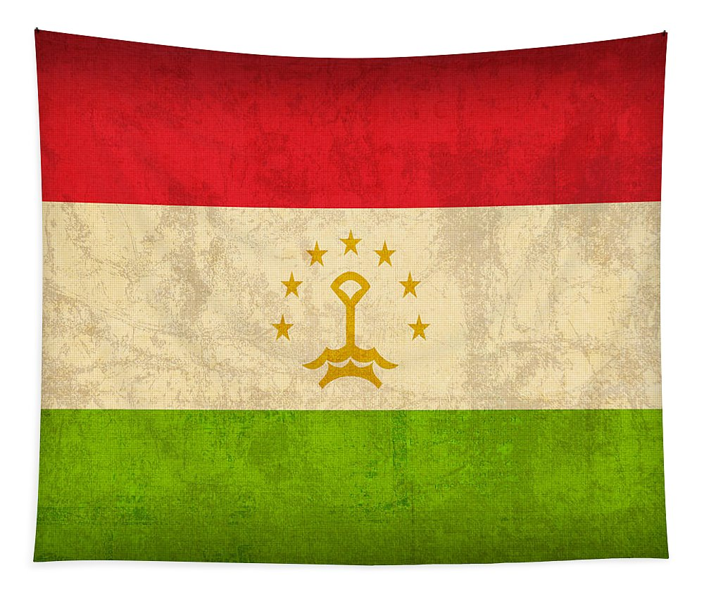 Tajikistan Tapestry featuring the mixed media Tajikistan Flag Vintage Distressed Finish by Design Turnpike